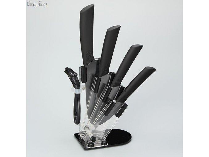 Sada 4 keramických nožů s držákem + škrabka