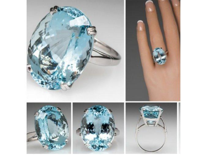 Luxusní dámský prsten s akvamarínem - SLEVA 60% (Velikost 10 (19,8 mm))