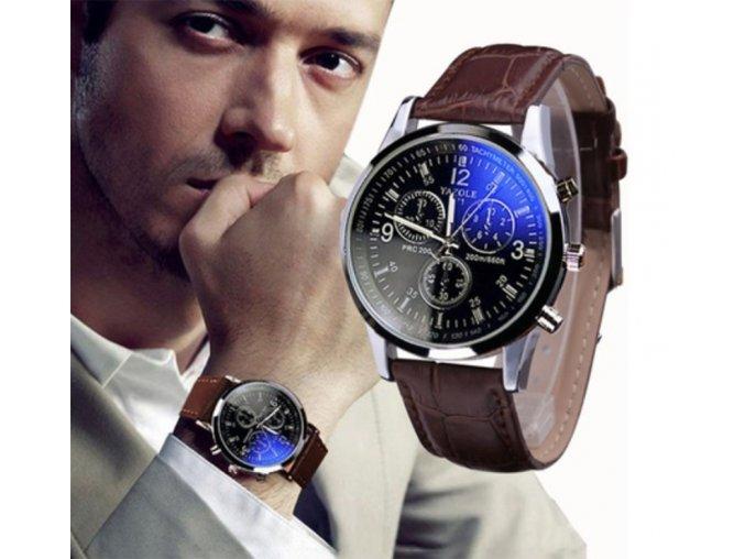 Elegantní pánské hodinky s koženým páskem