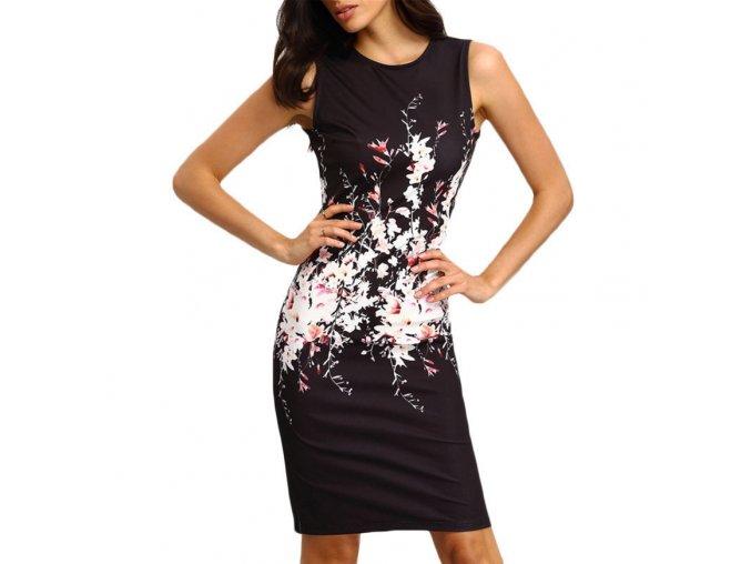 Dámské elegantní šaty s motivem květin černé (Velikost XL)
