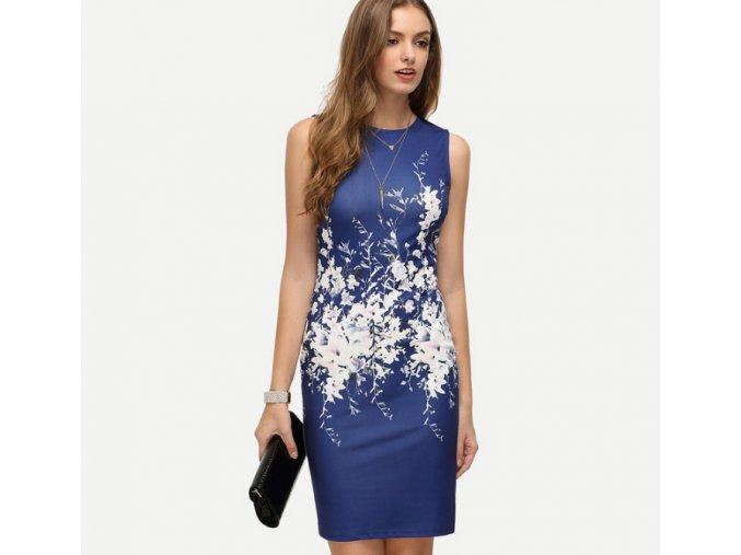 Dámské elegantní šaty s motivem květin modré (Velikost S)