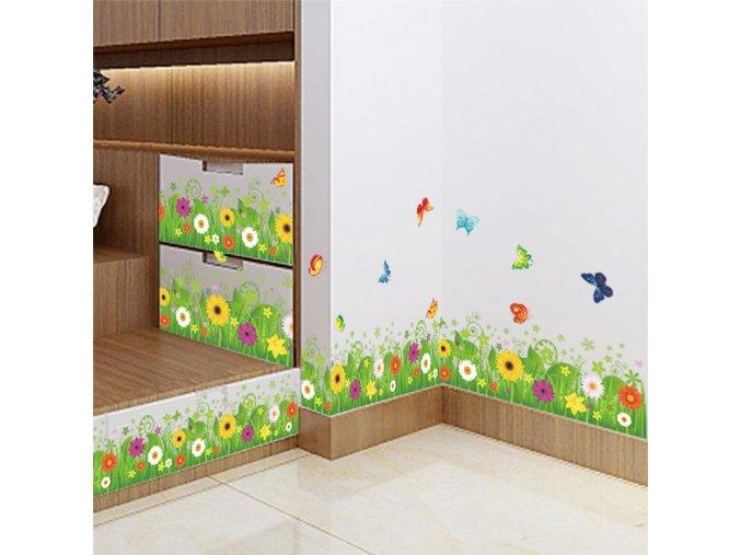 Květinová samolepící dekorace na zeď