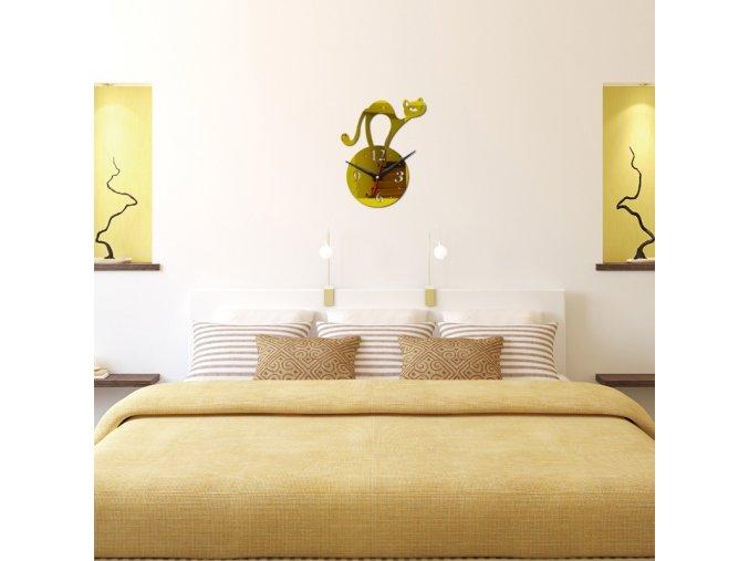 Samolepící akrylové hodiny na zeď - SLEVA 80% (Barva Zlatá)