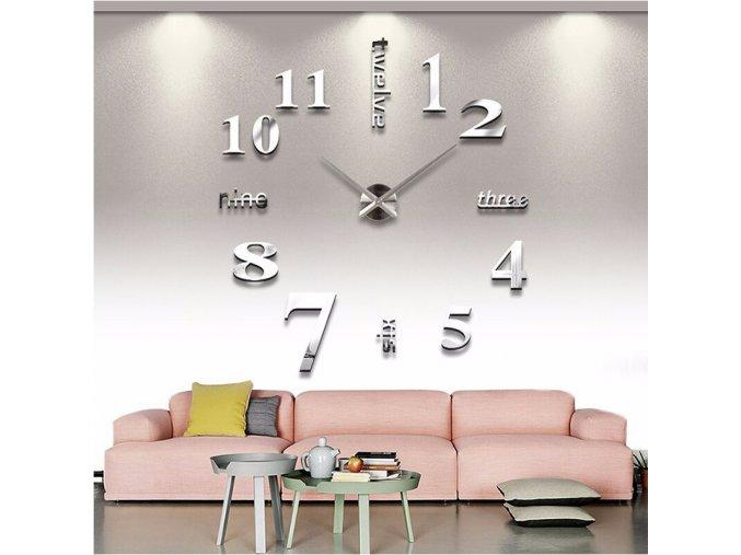 Akrylové dekorativní hodiny na zeď - různé barvy - SLEVA 60% (Barva Stříbrná)