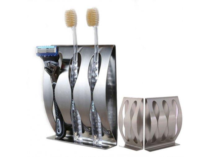 Nerezový samolepící držák na zubní kartáčky do koupelny