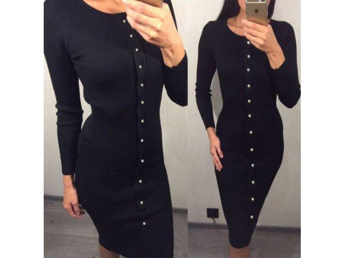 Dámské extra dlouhé šaty s dlouhým rukávem a knoflíky černé (Velikost XL)