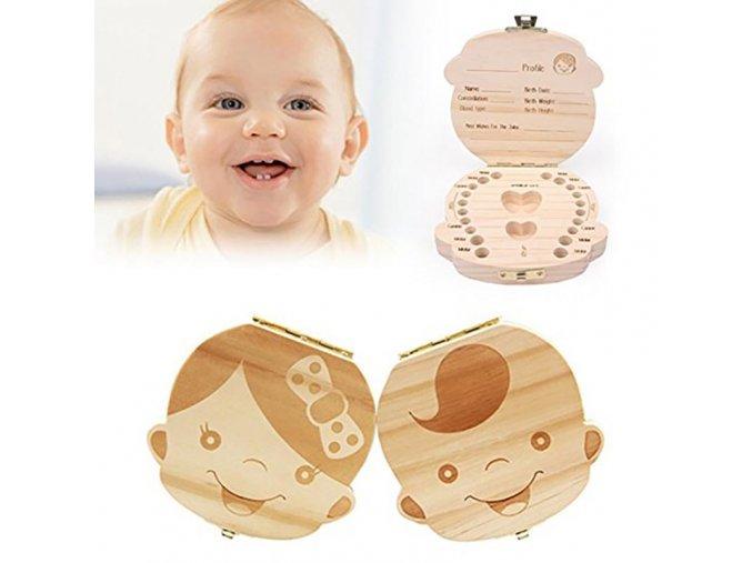 Památný dřevěný box na zoubky pro miminka - SLEVA 25% (Typ 2)