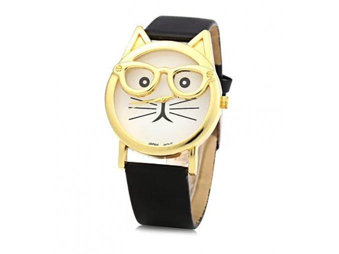 Stylové hodinky s motivem kočičky - SLEVA 35% (Barva Hnědá)