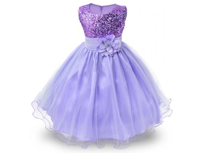 Dětské šaty fialové - SLEVA 40% (Velikost 170)