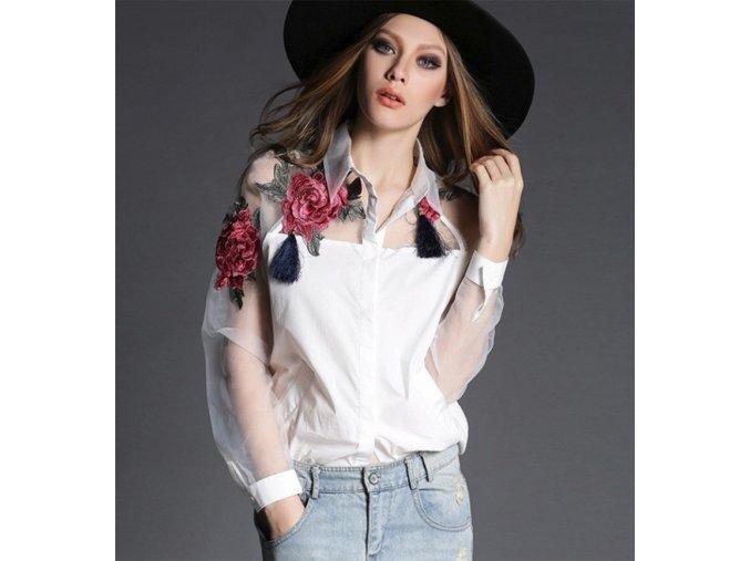 Lehká dámská košile - SLEVA 25% (Barva Černá, Velikost XXL)