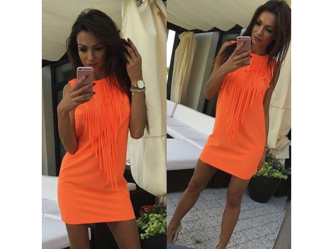 Dámské mini neonové oranžové šaty se střapci + DOPRAVA ZDARMA (Velikost XL)