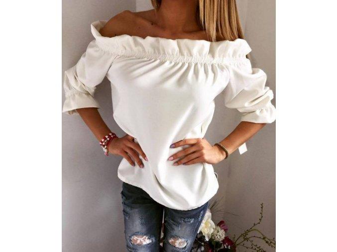 Dámská elegantní halenka barva bílá + POŠTOVNÉ ZDARMA (Velikost XL)