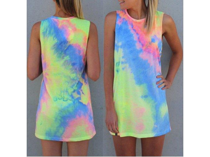 NOVINKA - Barevné neonové šaty (Velikost XL)