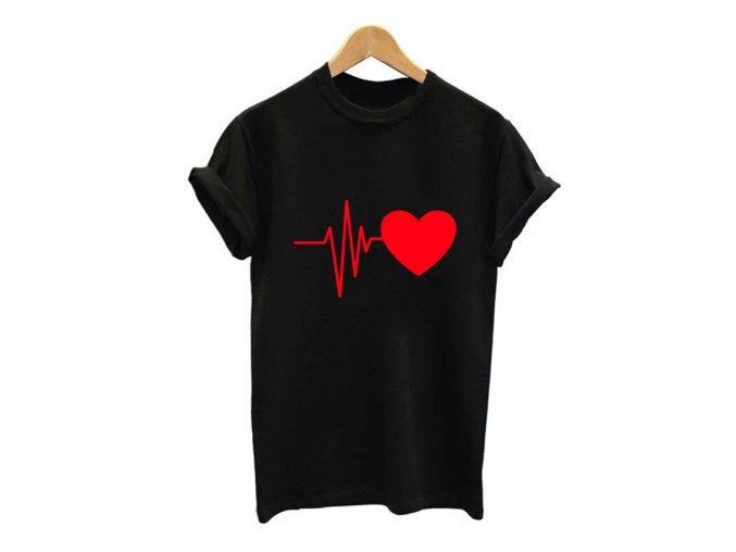 Vtipné dámské triko EKG srdce (Barva Černé s bílým srdcem, Velikost XXL)