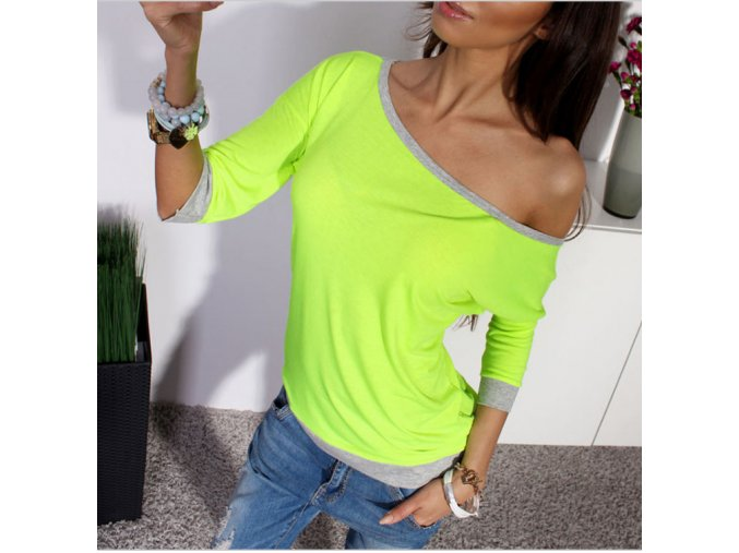 Dámské tričko s výstřihem a dlouhým rukávem + poštovné zdarma (Velikost XL)