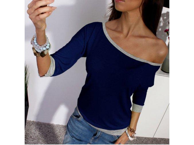 Dámské tričko s výstřihem a dlouhým rukávem modré + POŠTOVNÉ ZDARMA (Velikost XL)