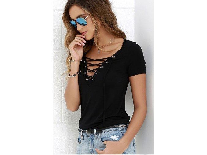 Dámské volnější fashion tričko se šněrováním černé + DOPRAVA ZDARMA (Velikost XXXL)