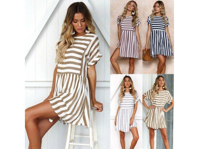 Pruhované šaty na pláž (Barva Šedá, Velikost XL)