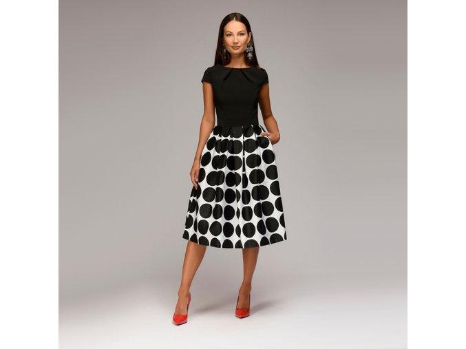 Dámské retro společenské večerní puntíkaté šaty až 2XL