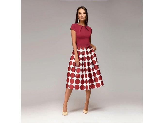 Dámské retro společenské večerní puntíkaté červené šaty až 2XL