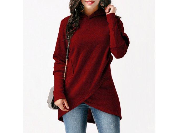 Podzimní červený asymetrický Cardigan s kapucí a kapsami