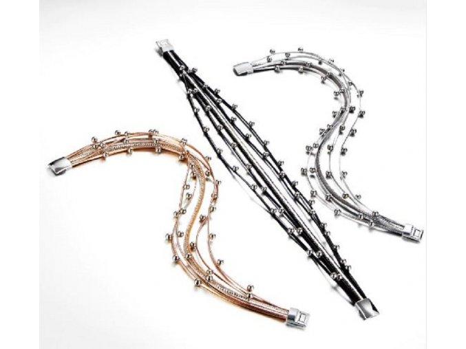 Dámský vícevrstvý lesklý náramek s kuličkami s magnetickým zapínáním - vánoční dárky pro ženy