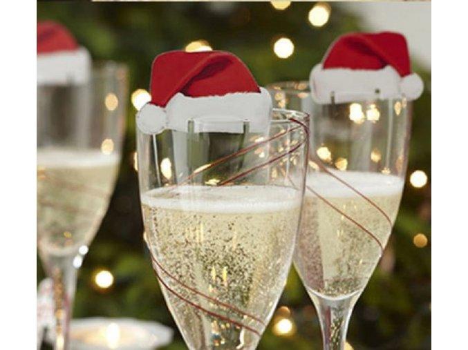 Vánoční dekorace na skleničky santovské čepičky - 10 kusů