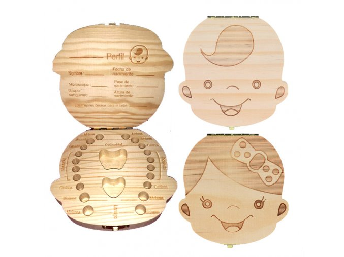 Dřevěná krabička na první dětské mléčné zoubky