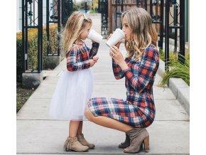 Dámské a dívčí společenské kostkované šaty NOVINKA