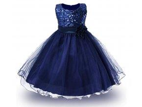 Dětské slavnostní společenské šaty tmavě modré pro družičku s flitry