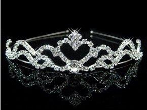 Svatební či plesová korunka s kamínky a perlami 3 druhy