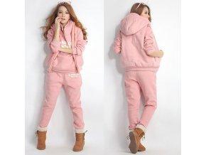 Pro ženy a dívky- růžová tepláková souprava vesta, mikina a kalhoty- VÝPRODEJ