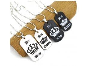 Stylový náhrdelník pro páry King a Queen Tip na vánoční dárek