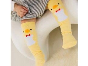 Dětské oblečení- roztomilé dlouhé ponožky se zvířátky hnědé, žluté, modré
