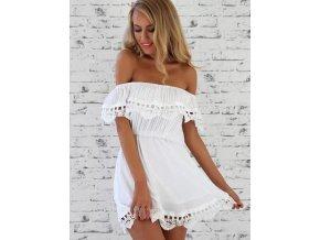 Elegantní dámské letní šaty bílé + DOPRAVA ZDARMA (Velikost XL)