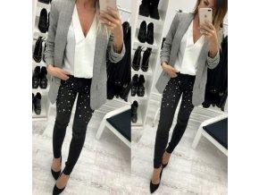 Dámské luxusní kalhoty černé s perlami