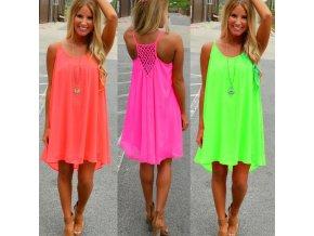 Elegantní letní šaty v různých barvách (Barva Zelená, Velikost XXXL)