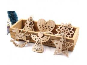 Vánoční dekorace- dřevěné  Vánoční ozdoby na stromeček nebo okna 6ks- Vánoce inspirace
