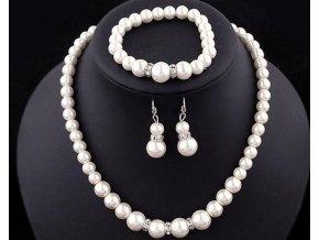 Dárky pro ženy- sada náušnice, náramek a elegantní náhrdelník perly- Vhodné jako dárek k Vánoců nebo na svatbu, ples