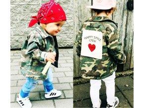 Dětské oblečení pro dívky a chlapce- podzimní ARMY stylová bunda se srdíčkem- VÝPRODEJ SKLADU