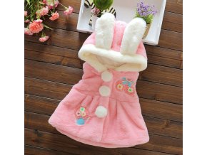 Dětské oblečení pro dívky- krásné huňaté vesty s oušky bílá, růžová- VÝPRODEJ SKLADU