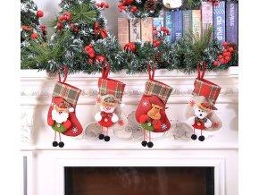 Vánoční dekorace- Vánoční ponožka nad krb, 4 varianty- skvělá dekorace VÝPRODEJ SKLADU