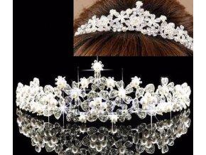 Luxusní svatební či plesová korunka s kamínky a perlami- VÝPRODEJ SKLADU