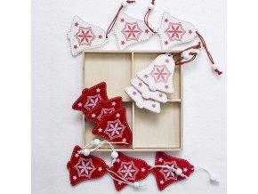 Vánoční dekorace- dřevěná Vánoční sada ozdob zvonečky na stromeček nebo okna 12ks- Vánoce inspirace