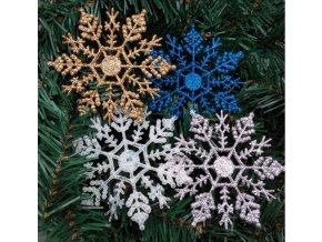 Vánoční dekorace- třpytivé vločky na stromeček 12ks/10cm, modré. bílé, stříbrné a zlaté