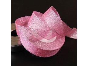 Dekorace- krásná růžová třpytivá stuha 9m- VÝPRODEJ SKLADU
