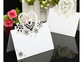 SVATBA- jmenovky se srdcem na svatbu nebo ples bílé 50ks