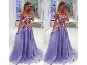 Dámské plesové společenské večerní šaty fialové do tanečních a na svatbu až 4XL