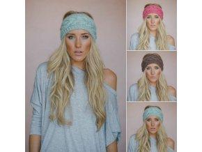 Pro ženy a dívky- teplá pletená zimní čelenka více barev- VÝPRODEJ SKLADU