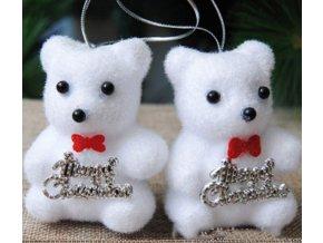 Vánoční dekorace- krásné ozdoby na Vánoční stromeček medvídek 2ks- VÝPRODEJ SKLADU